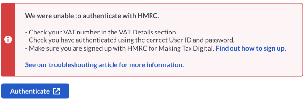 Error: We were unable to authenticate with HMRC