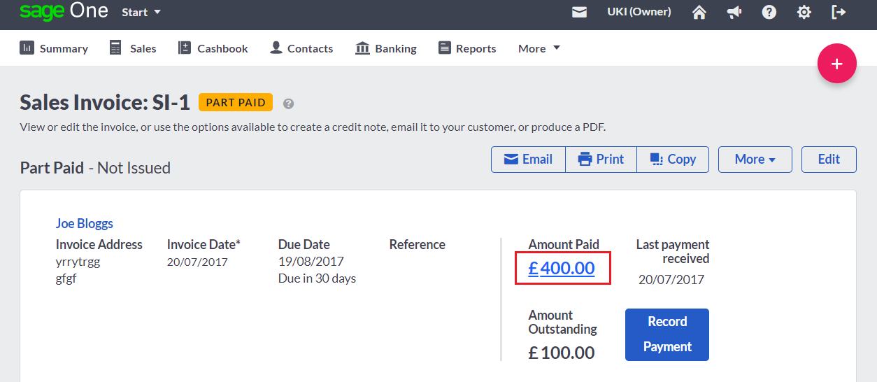 Refund a paid or part-paid sales invoice
